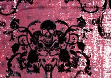 "Remnant Scrap Black Felt Skull Damask 2W Stretch Twill Fabric (19x52"") 1/2 yard"