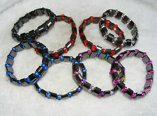 7 x Hematite Gemstone Crystal Bead Bracelet Clearance Lot