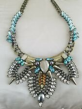 Baublebar Necklace Gold Spike Turqouise Pearl Rhinestone Statement