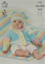 KNITTING PATTERN Baby's/Childrens Roll Collar Jacket Teabag Hat &Blanket DK 4121