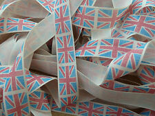 UNION JACK VINTAGE RIBBON POLYESTER 25MM FREE P&P RUSTIC JUBILEE OLYMPIC TEAM GB