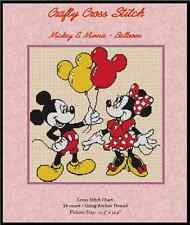 Counted Cross Stitch MICKEY and MINNIE with Balloons - COMPLETE KIT #18vc-17 KIT