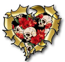 Ripped Torn Metal GOLD HEART & Tattoo Style Skull & Red Roses vinyl car sticker