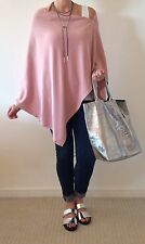 Lagenlook New '5 WAYS TO WEAR' Cashmere Mix Button Poncho Scarf Shrug Cardi PINK