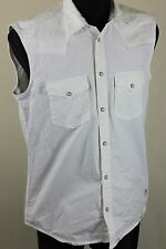 MEN'S JACK JONES WHITE SLEEVLESS SHIRT VEST sz M 100% COTTON