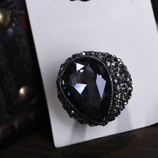 Glory Black Crystals Drop Elastic Finger Ring Hot Fashion