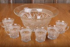 Vintage Glass Punch Bowl and 6 Cups Diamond Pattern
