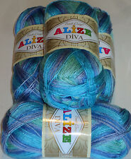 ALIZE DIVA BATIK,SILK EFFECT MICROFIBRE KNITTING&CROCHET YARN 400g OCEAN DREAMS