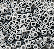 Letter N - 100pc 7mm Alphabet Beads White with Glossy Black Letters