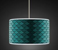Peacock Green Rero Geometric Handmade  Printed Fabric Lampshade 457
