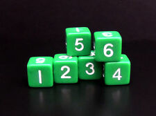 New Set of 6 Numbered Six Sided D6 Dice - Opaque Green – 16mm RPG Polyhedral