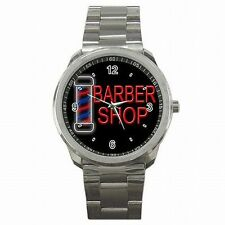 Barber Shop Pole Sign Stainless Steel Sport Watch Gift New!
