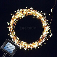 2X Warm White 100LED Solar Powered Fairy String Lights Garden Christmas Outdoor