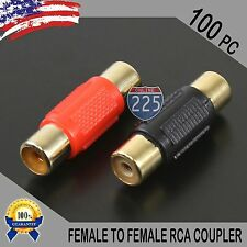 100 Pc Bag Female To Female RCA Couplers RED/BLACK w/Gold Plated Connectors PACK