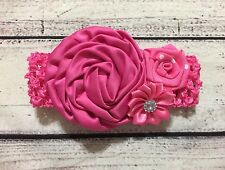 Vintage Hot Pink Flowers Newborn /Baby/Toddler/Girl Headband
