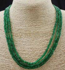 AA NATURAL 3 Rows 2X4mm FACETED GREEN EMERALD ABACUS BEADS NECKLACE17-19 INCH