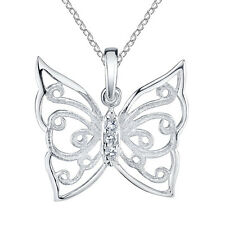 Large 925 Sterling Silver Butterfly Cubic Zirconia Pendant Necklace CZ