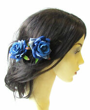 2 x Blue Rose Flower Hair Pins Vintage Rockabilly Clip Bridal 1950s Floral 1510