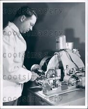 Optometrist Using Vintage Syncromatic Edger Shaping Lens Press Photo