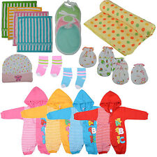 New Born Baby Infant Girl Boy Cotton Romper Clothes Complete Kit[18Pc] ,Gift Set