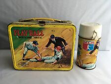 Vintage 1969 Play Ball Magnetic Game Lunch Kit Metal Lunchbox With  Thermos