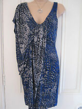 Gorgeous French Connection blue, grey, beige asymmetric dress in size XS (UK 8)
