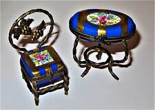 LIMOGES TWO BOX SET - FURNITURE - FLORAL TABLE & CAFE CHAIR - FLOWERS - GRAPES