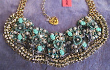 Betsey Johnson PATINA Oxidized Copper Bib SKULLS ROSES Statement Necklace $145