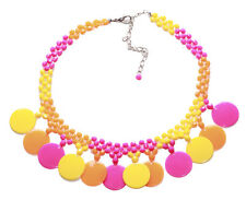 Exotic Round Pastel -Yellow, Orange & Hot Pink Choker Necklace(Zx95)