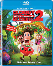 CLOUDY WITH A CHANCE OF MEATBALLS 2 NEW BLU RAY DISC +DVD MOVIE CARTOON ANIMATED