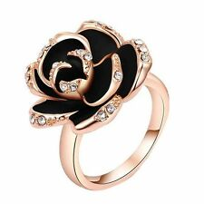 New Stylish Size 8 Rings Gold Crystal Big Rose Flower Ring Women High Quality