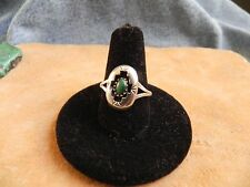Malachite Sterling Silver Shadow Box Ring size 8 1/2 signed P Navajo