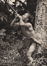 1940 Borneo SEMI NUDE MALE Muscle Blow Dart Jungle Hunter Photo Art By K.F. WONG