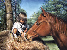 """HORSE: BABY WITH HAY on 16"""" Square Fabric Panel to Sew -SALE!"""