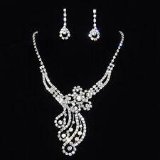 Parure de bijoux cristal clair collier boucles d'oreilles pour un soir de fête