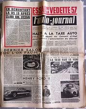 L'AUTO-JOURNAL n°161 du 11/1956; Essai Vedette 57/ DS 19/ Henry Ford II/ Firebi