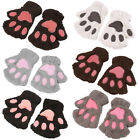 Lovely Women Cat Claw Paw Mitten Plush Glove Costume Gift Winter Half Finger XL