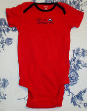 "CARTER'S ONE PIECE RED BODY SUIT. ""OFF TO GRANDMA'S"".  SIZE 18 MONTH."