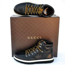 GUCCI New sz 10 G US 10.5 Auth High Top Designer Mens GG Sneakers Shoes black