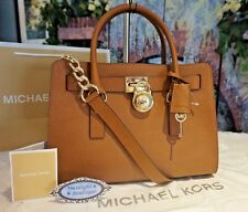 NWT Michael Kors HAMILTON E/W Satchel Tote Saffiano Leather Bag In LUGGAGE $298