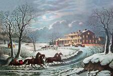 Currier and Ives Horse Sleighs Big Country House Christmas Gathering