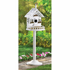 BIRDHOUSE: Charming Victorian White Bird House with Stand NEW