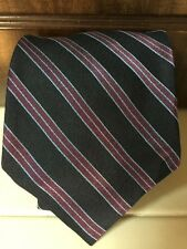 Brooks Brothers Classic Navy Blue Maroon Striped 100% Silk Neck Tie Made USA