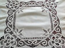 Vintage Hand Embroidered White Cotton Ribbon Lace Table Cloth 31x32 Inches