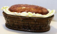 "CERAMIC ""BREAD BOX"" Painted Glazed Loaf Container Storage Cookie Jar basket"
