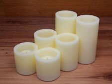 Flameless LED Candles; 2 Set of 3, 4, and 6 Inch Ivory Round Pillar Wax Candles,