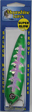 "MOONSHINE LURES GLOW IN THE DARK HALF MOON 5"" TROLLING SPOON -GREEN SLICE SILVER"