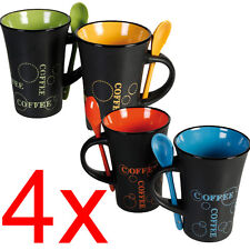 4 X COFFEE MUG WITH SPOON TEA SET DRINK LATTE CUPS CERAMIC KITCHEN ESPRESSO NEW