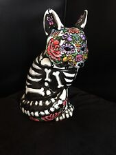 Day of the Dead Painted Sugar Skull Fox Statue Figurine Cookie Treat Jar Collect