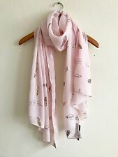 LADIES PALE PINK WITH ROSE GOLD METALLIC FOIL FEATHER PRINT SCARF WRAP